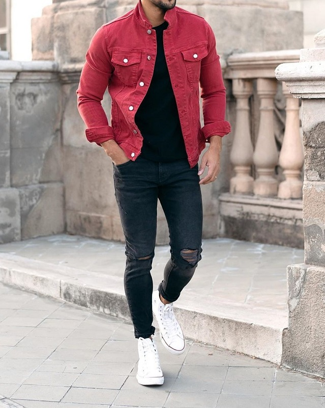 Denim jacket with Round neck T shirt and jeans.