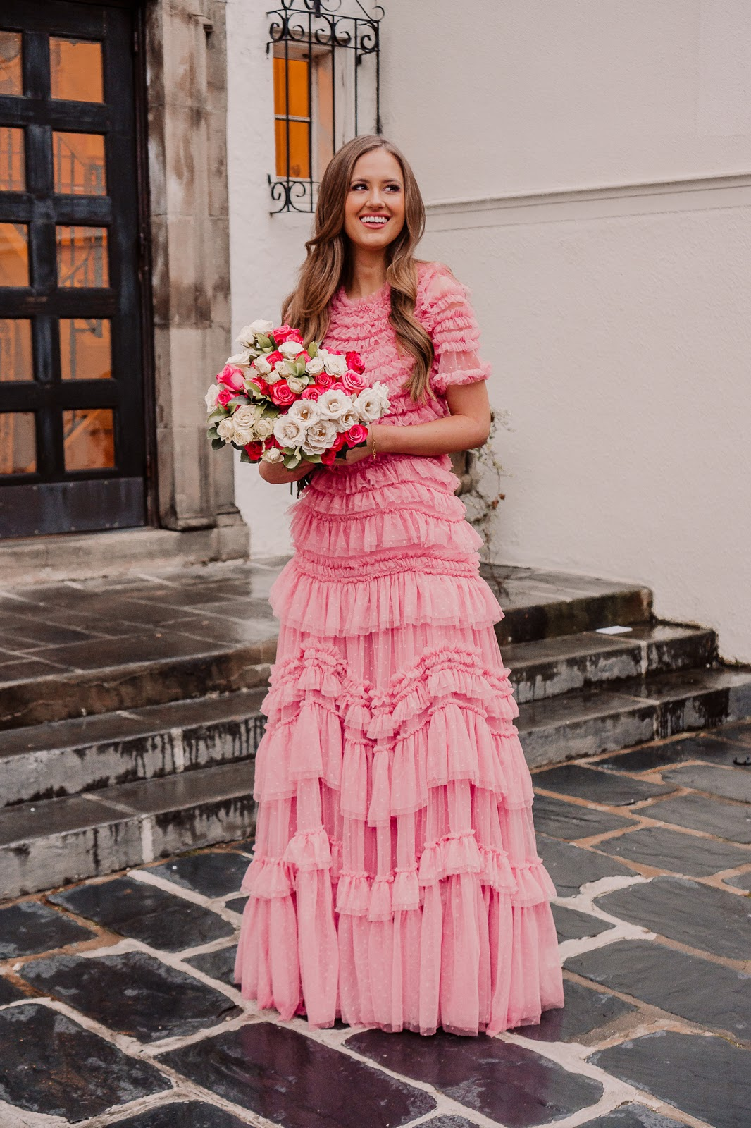 Needle and Thread Wild Rose Ruffle Gown Sun Blush