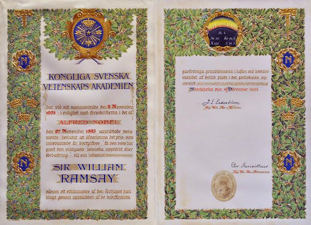 William Ramsay的諾貝爾化學獎獎狀