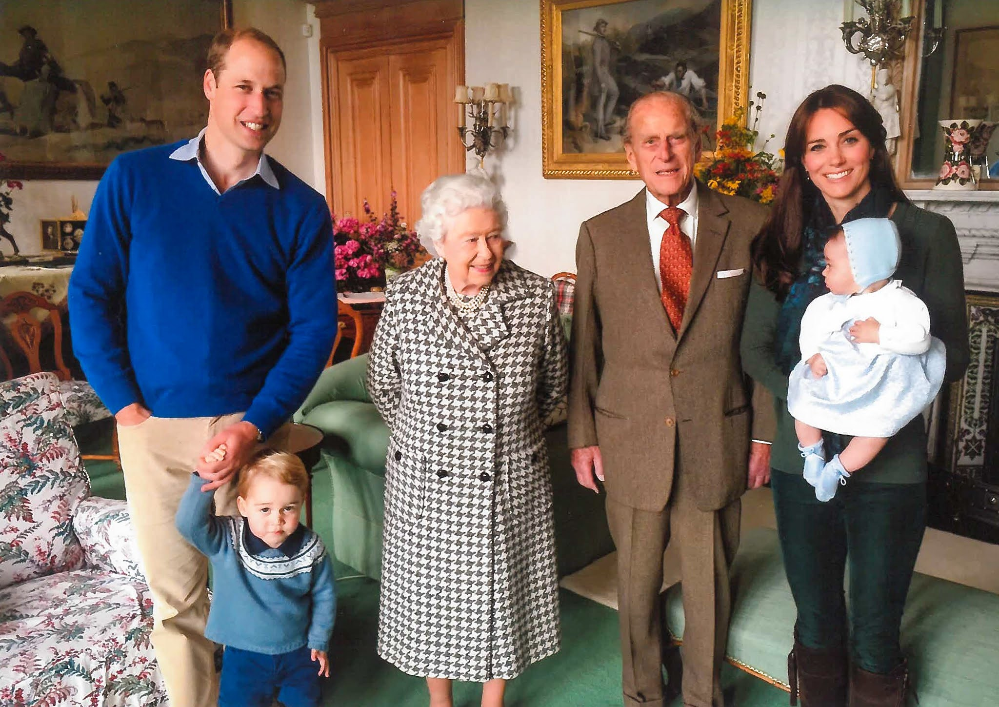 The Duke and Duchess of Cambridge, Prince George and Princess Charlotte with The Queen and The Prince Philip at Balmoral Castle