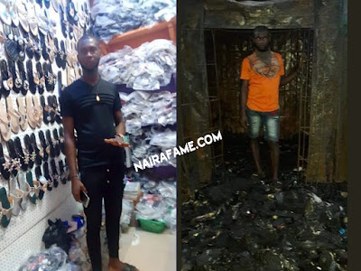 Onitsha Fire: Before and After Photos of a Trader's Shop. PHOTOS