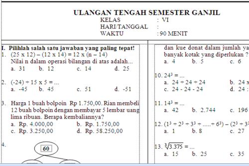Contoh Soal UTS Matematika Kelas 4 Kurikulum 2013 – Blognya Mukhlis