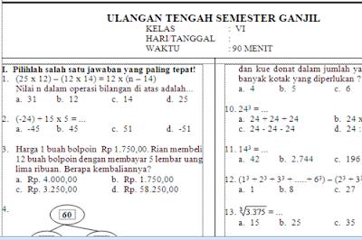 Contoh Soal UTS Matematika Kelas 4 Kurikulum 2013