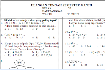 untuk mata pelajaran Matematika terpisah dengan Tematik Contoh Soal UTS Matematika Kelas 4 Kurikulum 2013