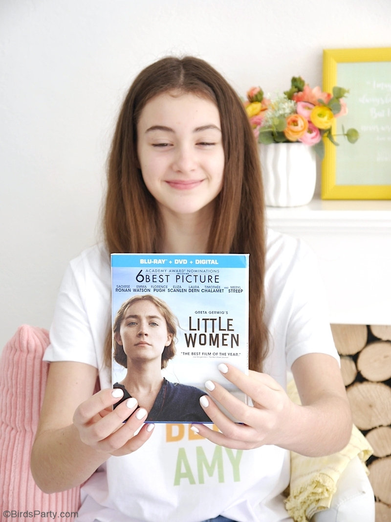 Little Women Movie Night Ideas with DIYs, Recipes and FREE Printables - perfect for a girls' night in or Mother's day celebration! #LittleWomenMovie out now on Blu-ray™ , DVD, and Digital | #sponsored content created by @birdsparty for @sonypictures