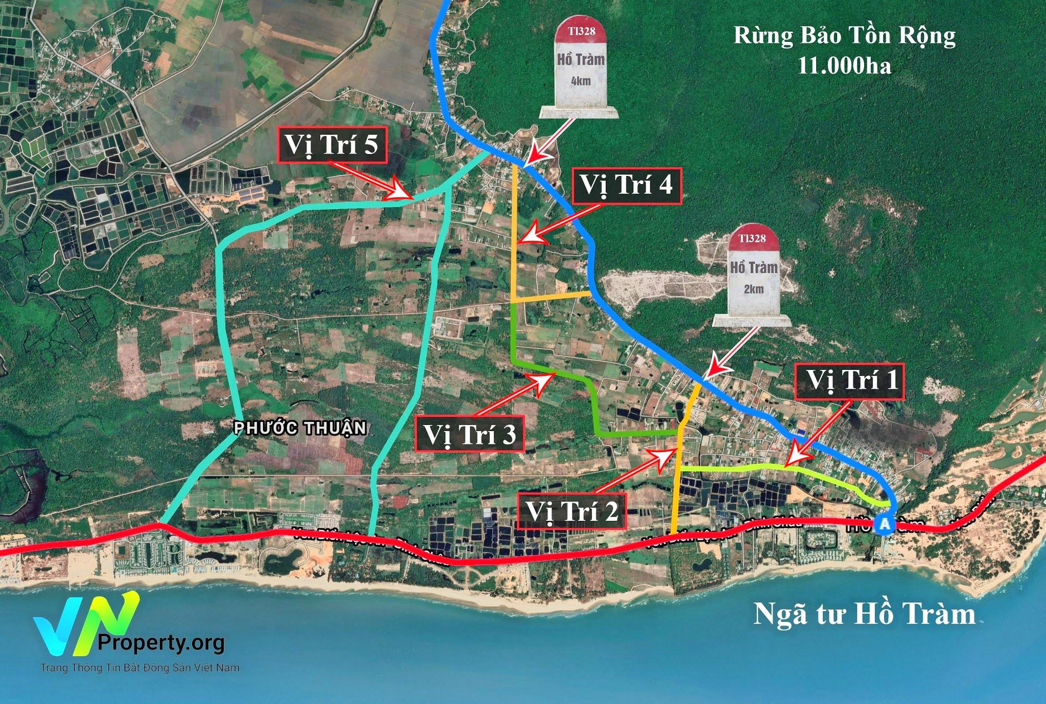 bản đồ vị trí đất đang mở bán tại Hồ Tràm, xã Phước Thuận