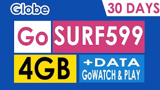 GoSURF599 – 4GB Data, 1GB app of your choice, 2GB GoWATCH and Play