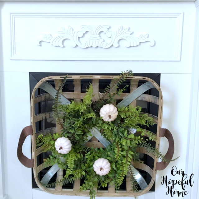 square tobacco basket fern wreath white clip-on pumpkins fireplace