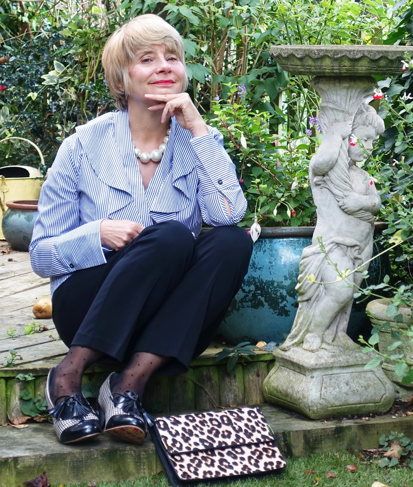 Gail Hanlon from Is This Mutton pairs a statement striped shirt with houndstooth shoes for a contemporary fashion look for the over 40s