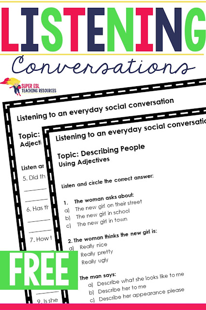 Looking for some ideas on how to practice listening with your ESL students? These Listening Conversations Describing People activities will help your ESL students come out of their shell.