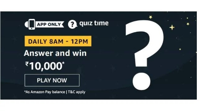 Amazon Quiz Answers For Today 30th April 2020 - Win Rs.10000 Pay Balance