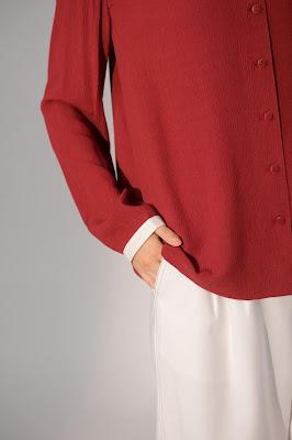 雪色領邊無花果紅長袖襯衫