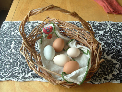 A little basket with several different colored eggs
