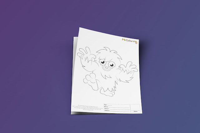Free Printable Scary Moshi Monsters Furi Coloriage Outline Blank Coloring Page pdf For Kids Kindergarten Preschool toddler coloring sheets