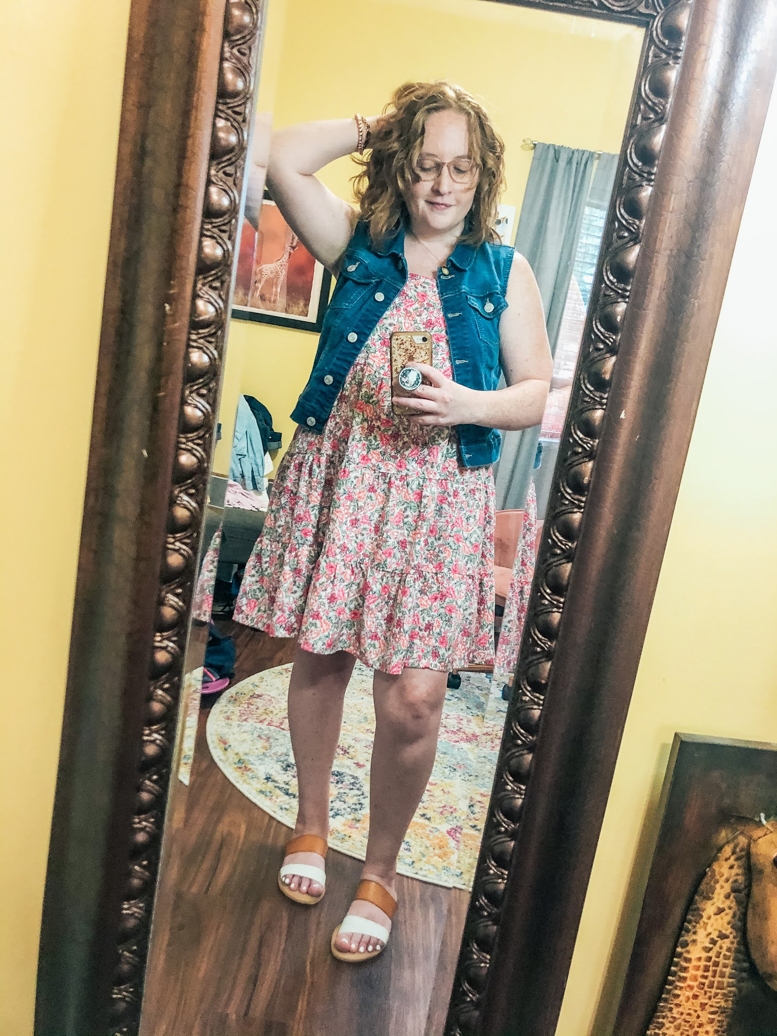 pink-floral-tiered-swing-dress