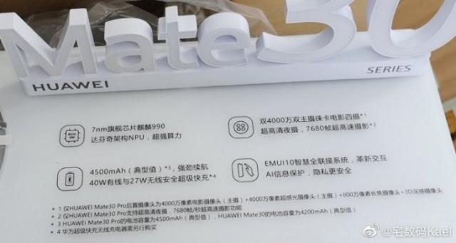 Spesifikasi Huawei Mate 30 dan Mate 30 pro
