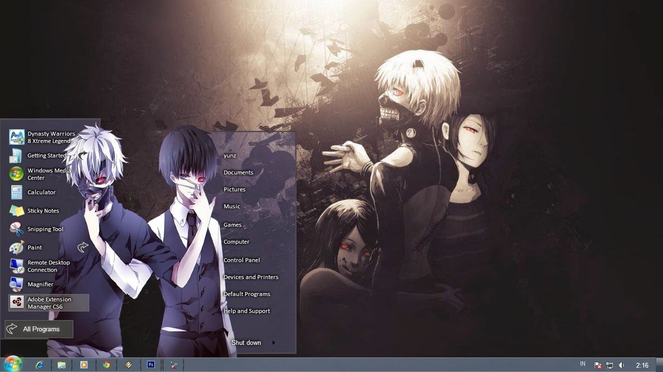 Continuing on, you will find further tips about how to install wallpaper. Tokyo Ghoul Theme Windows 7   Anime Theme Windows 7 Skins