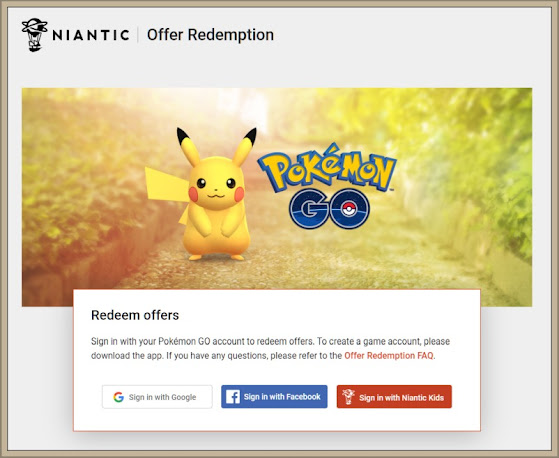 Pokemon Go Offer Code Redemption Page
