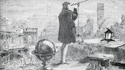 Astronomer Nicolas Copernicus at the rooftop of his observatory at Frauenberg.