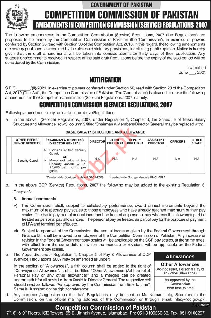 Latest Competition Commission of Pakistan Security Posts Islamabad 2021