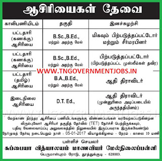 Walk in Interview for BT Assistant Teachers and Primary Teachers Post in Subbaih Vidhyalayam Girls Higher Secondary School Tuticorin (Govt Aided) on 5th January 2017