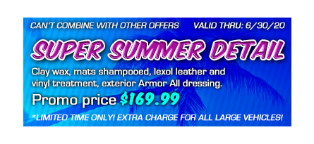 Car wash coupon for a summer detailing package at $169.99