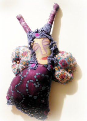Purple Dreaming Butterfly Painted Muslin and Batik Spirit Doll