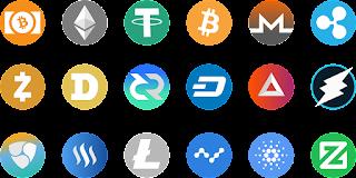 Bild mit verschiedenen Cryptowährungen wie Bitcoin, Ethereum, Litecoin.
