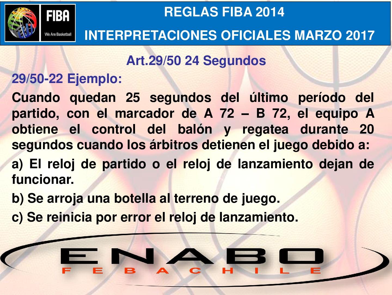 REGLAS FIBA 2014 - INTERPRETACIONES MARZO 2017 - ART 29/50 - 24 ...