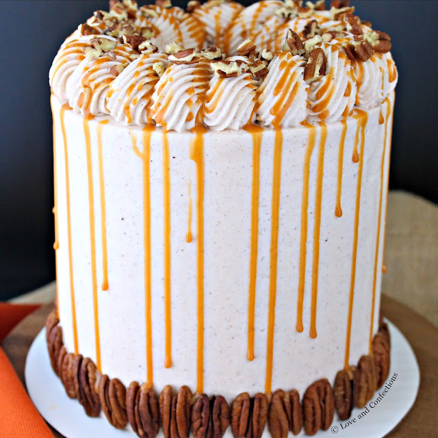 Pumpkin Pecan Pie Layer Cake from LoveandConfections.com #PumpkinWeek #sponsored