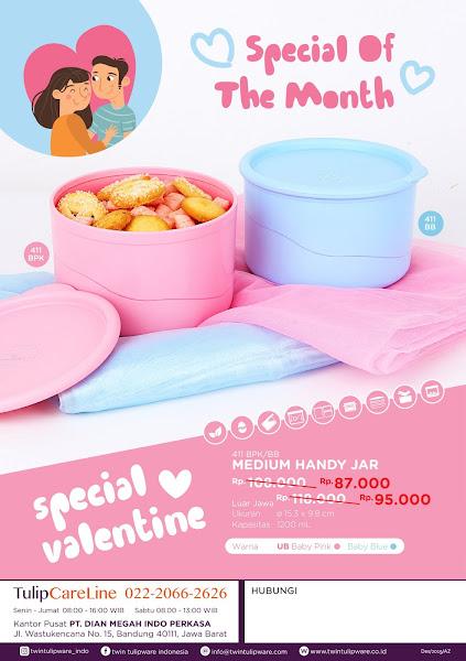 Promo Diskon Tulipware Februari 2020, Madium Handy Jar Valentine