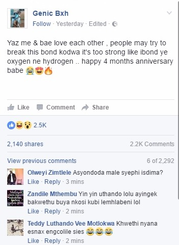South African Lady Celebrates 4month Relationship