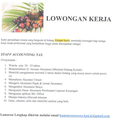 Lowongan Kerja Medan S1 Akutansi November 2019 Staff Accounting