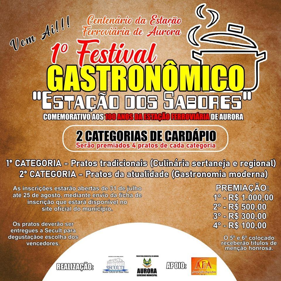 Secult divulga início das inscrições para o I Festival Gastronômico de Aurora