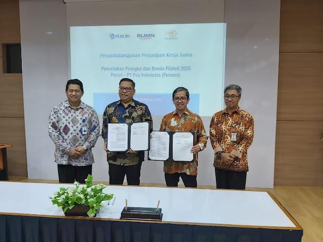 Pos Indonesia dan Peruri Kerja Sama Pencetakan Prangko & Filateli