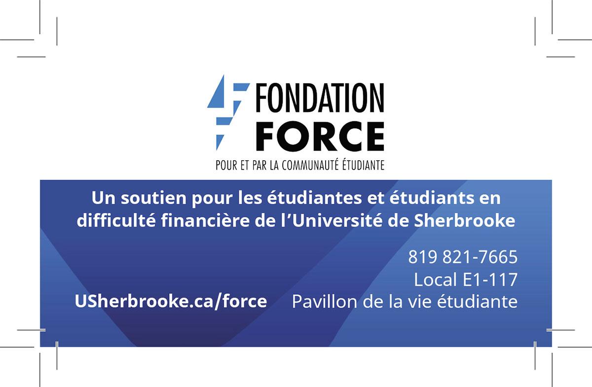 Recto de la carte professionnelle de la Fondation FORCE