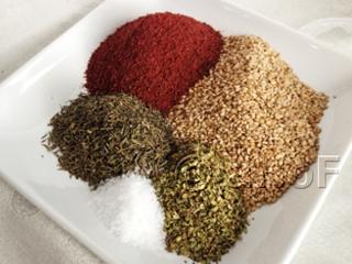 sumac, sesame, oregano, salt, thyme