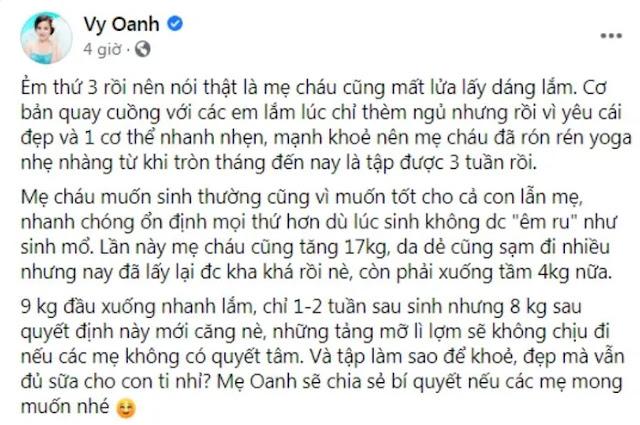 Chia sẻ của Vy Oanh trên FaceBook rằng cô sẽ quyết tâm giảm cân
