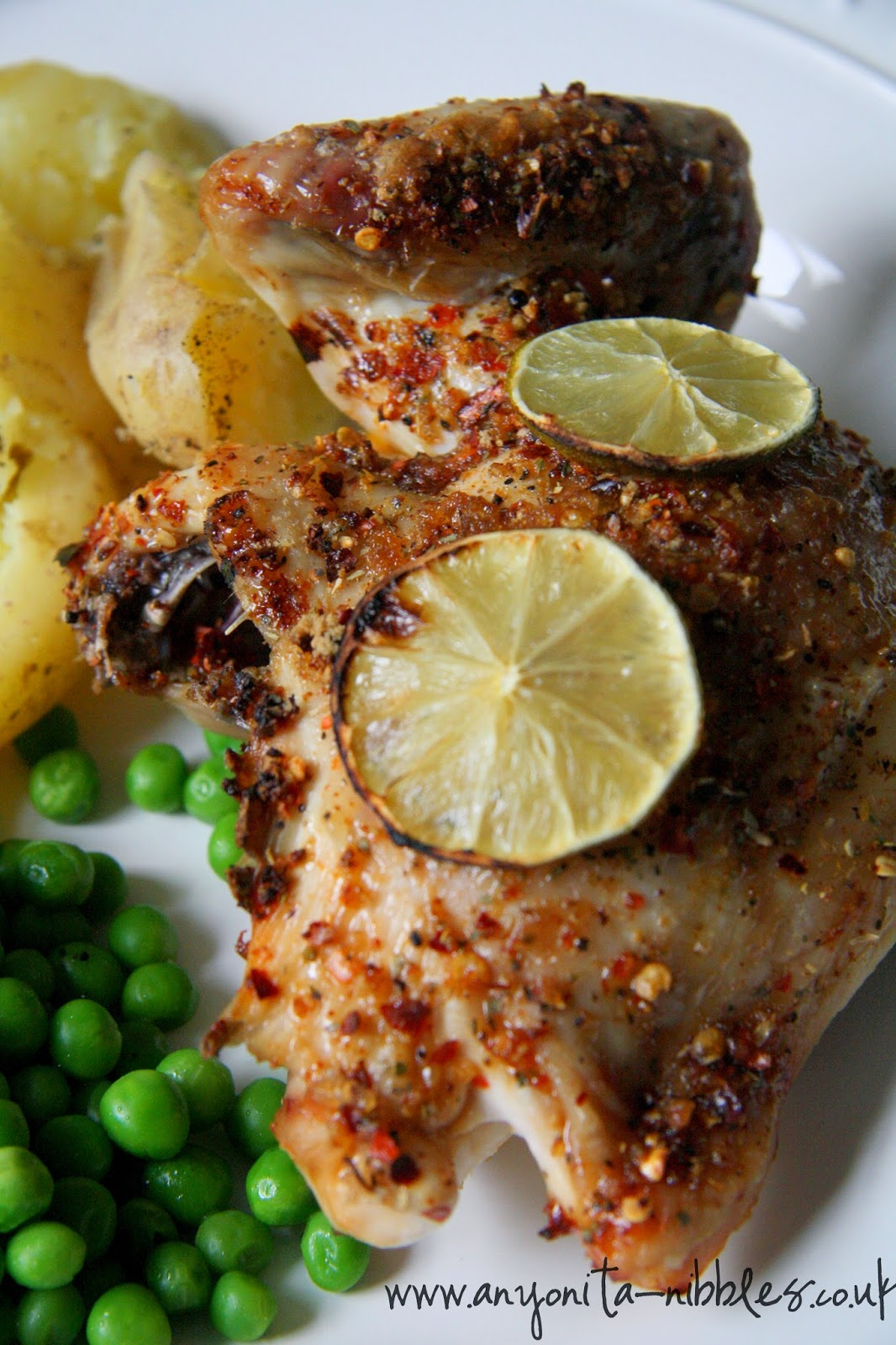 Chicken breast quarter with peri-peri, lime and potatoes and peas from www.anyonita-nibbles.co.uk