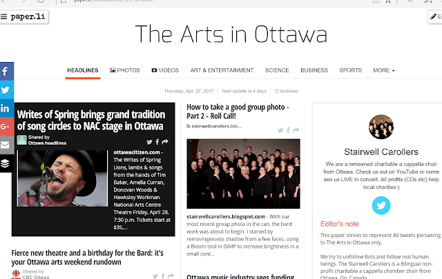Screenshot of The Arts in Ottawa @StairwellChoir Twitter