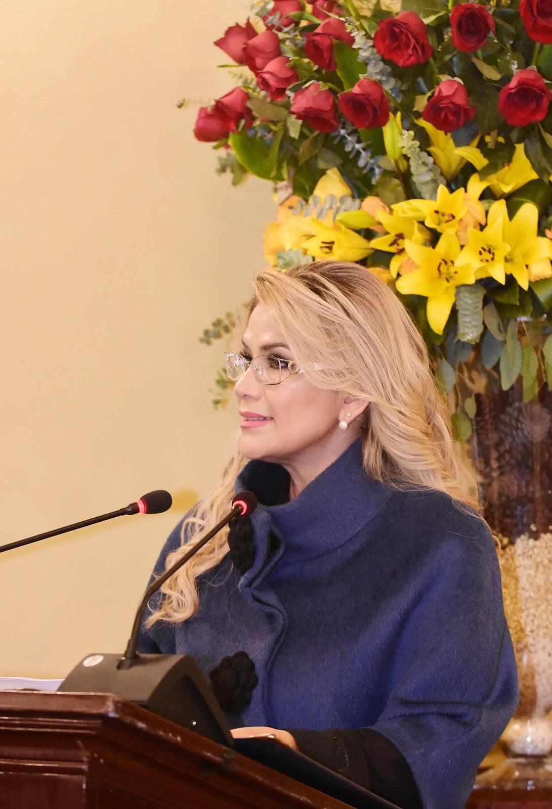 La presidenta constitucional de Bolivia Jeanine Áñez en Palacio de Gobierno / ABI