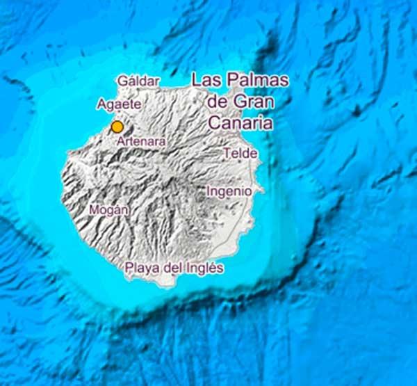 terremoto registrado en Agaete, Gran Canaria, el lunes 11 de marzo