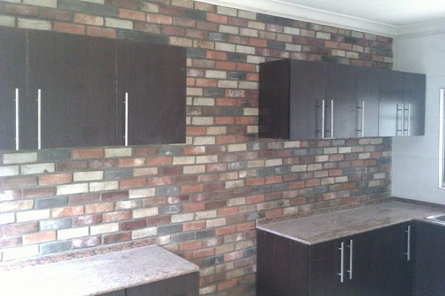 Antique bricks on kitchen wall