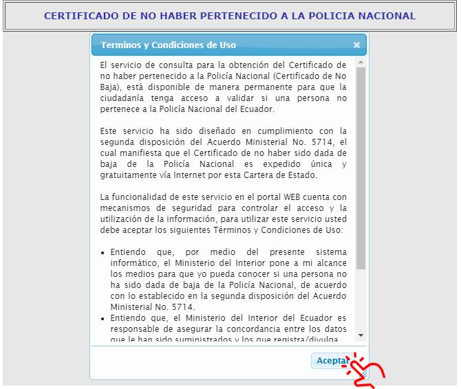 terminos y condiciones de uso certificado no pertenecer a la policia