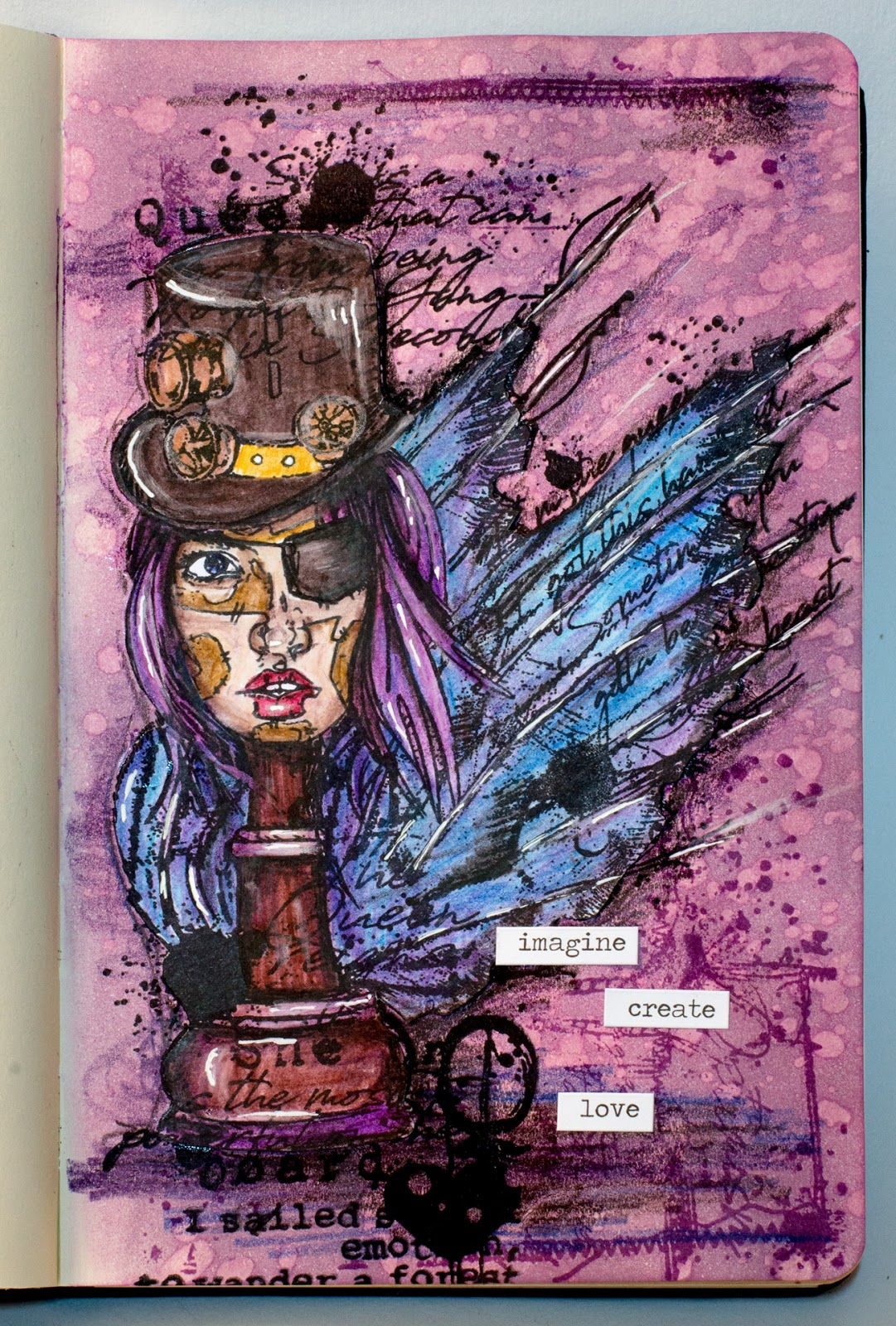 Art journal page (GDT AALL&Create): Chess Lady
