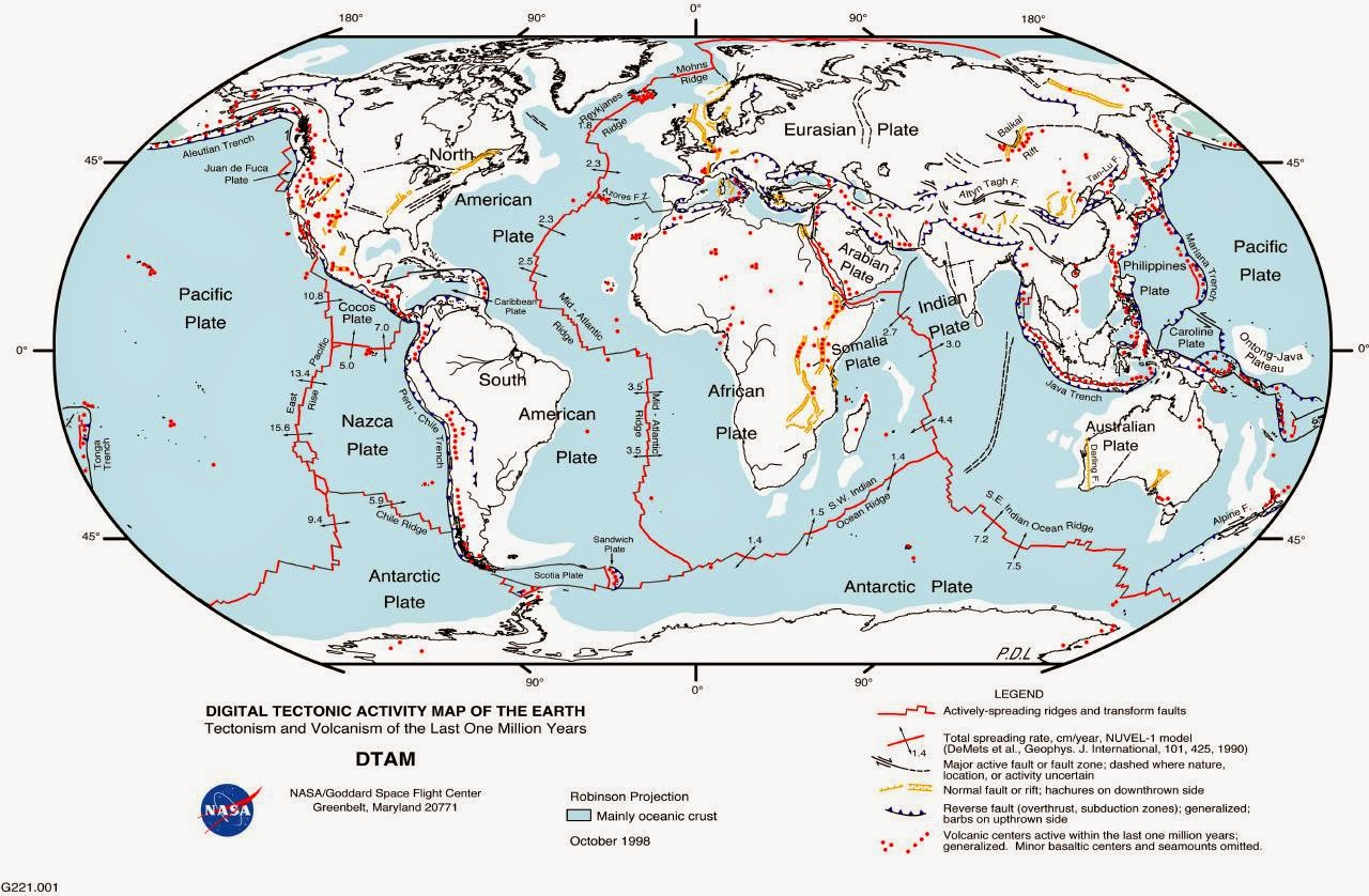 map showing fault lines