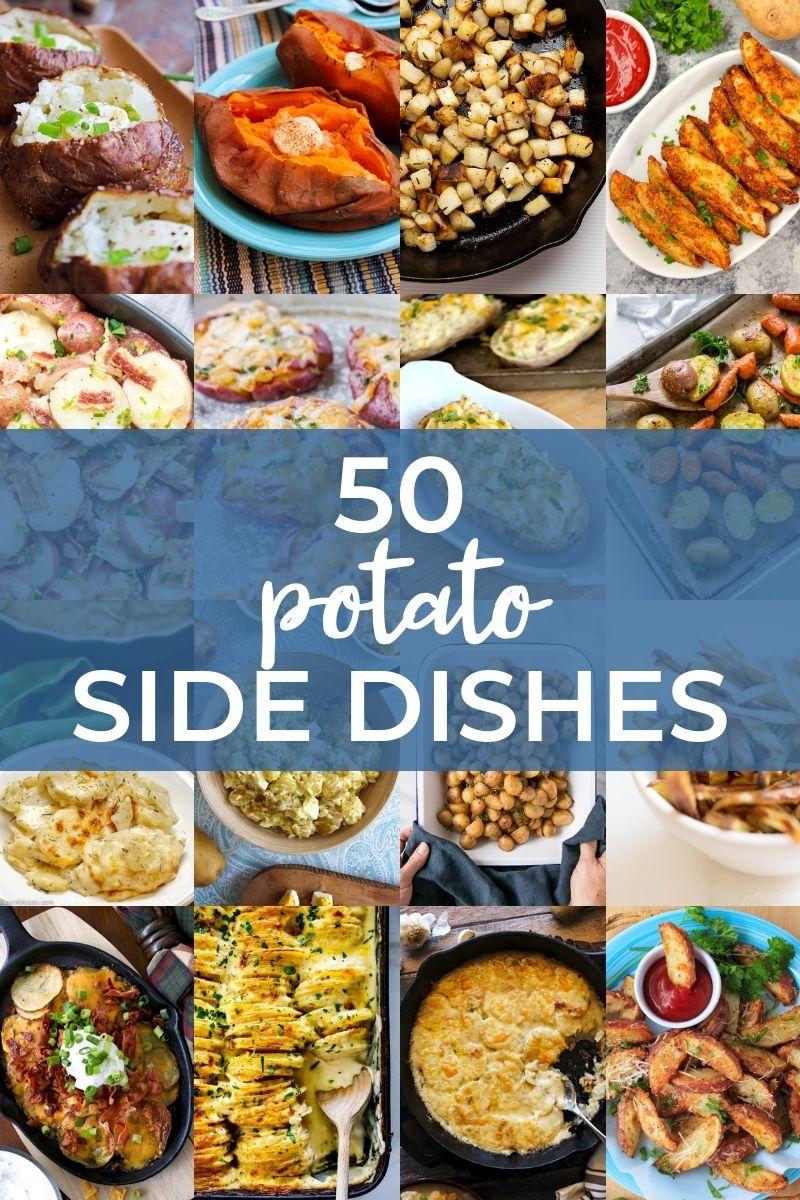 Collage of potato side dish recipes.