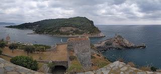 View of Palmaria Island from Castello Doria in Porto Venere