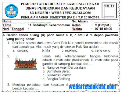 Soal PAS/ UAS Kelas 4 SD/MI K13 Tahun 2018/2019