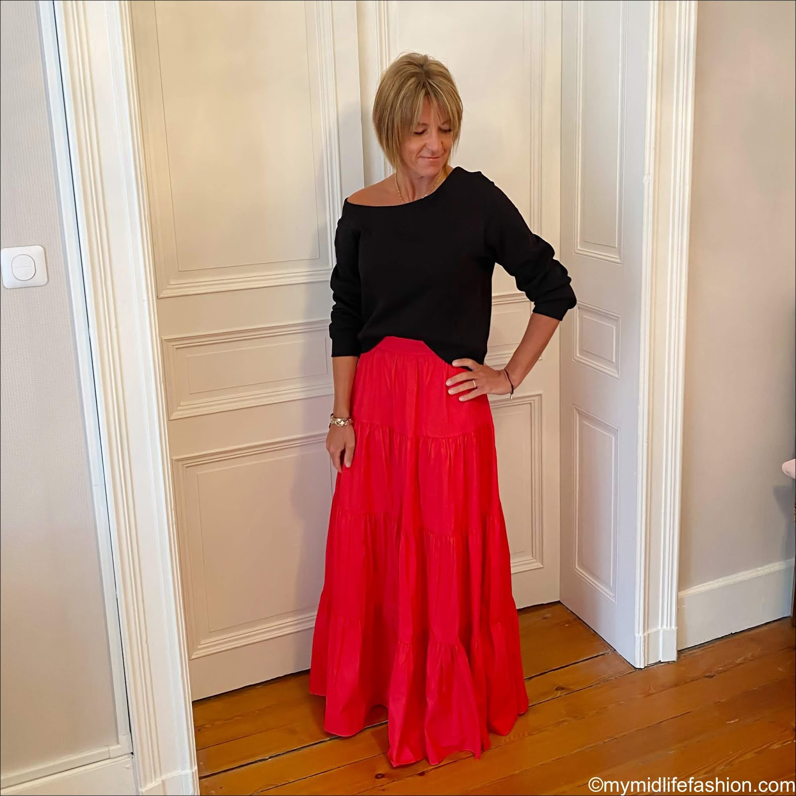 my midlife fashion, h and m off the shoulder sweatshirt, mango flared poplin skirt, Ancient Greek desmos leather sandals